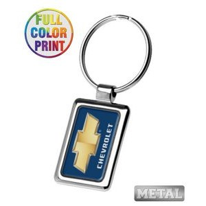 Rectangle Shaped Metal Keychain-Full Color Dome