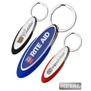 Oblong Metal Color Keychain-Full Color Dome